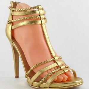 Dolce Vita Gold Leather Designer Strappy Sandals